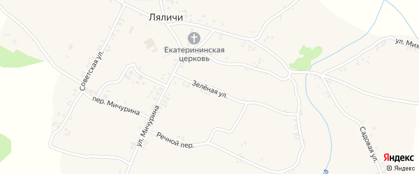 Зеленая улица на карте села Ляличей с номерами домов
