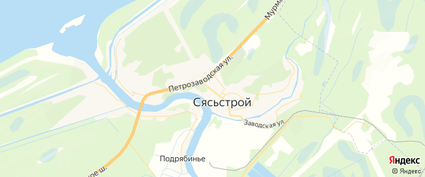 Карта Сясьстроя с районами, улицами и номерами домов