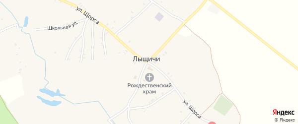 Переулок 1-й Щорса на карте села Лыщичей с номерами домов
