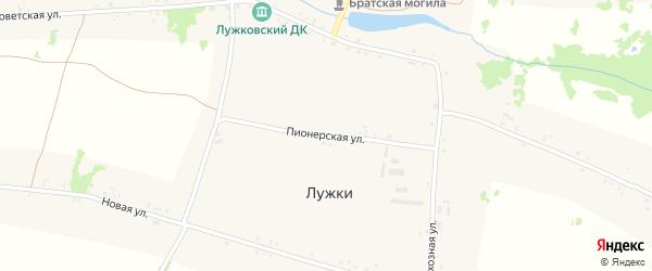 Пионерская улица на карте села Лужки с номерами домов