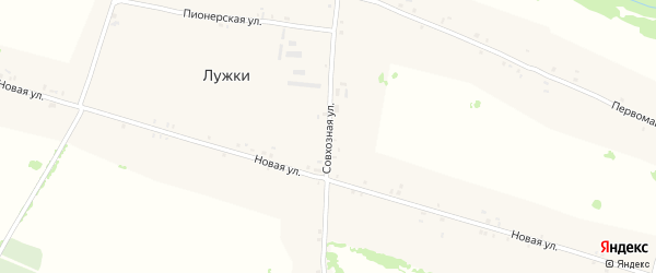 Совхозная улица на карте села Лужки с номерами домов