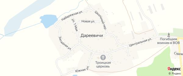 Школьный переулок на карте села Дареевичи с номерами домов
