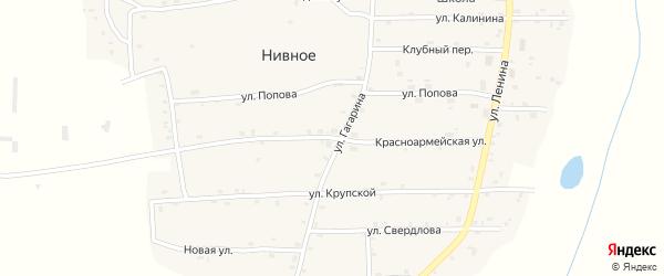 Красноармейская улица на карте Нивного села с номерами домов
