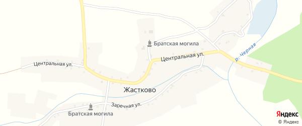 Центральная улица на карте деревни Жастково с номерами домов