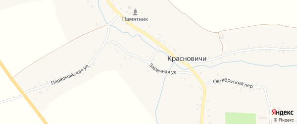 Заречная улица на карте села Красновичей с номерами домов
