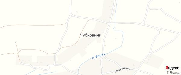 Лесная улица на карте села Чубковичей с номерами домов