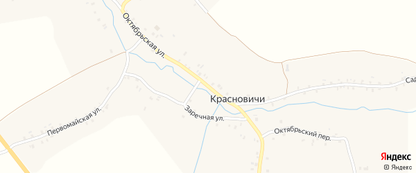 Октябрьская улица на карте села Красновичей с номерами домов