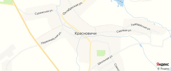 Карта села Красновичей в Брянской области с улицами и номерами домов
