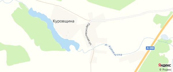 Партизанская улица на карте деревни Куровщина с номерами домов