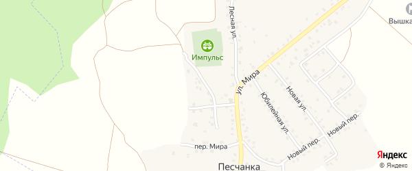 Молодежная улица на карте деревни Песчанки с номерами домов