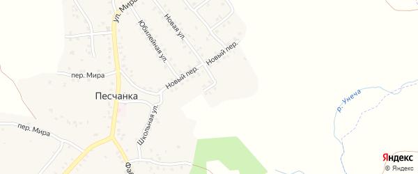1-й Новый переулок на карте деревни Песчанки с номерами домов