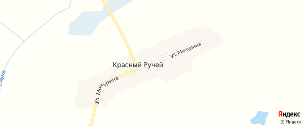 Улица Мичурина на карте поселка Красного Ручья с номерами домов