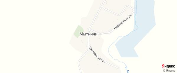 Центральная улица на карте деревни Мытничей с номерами домов