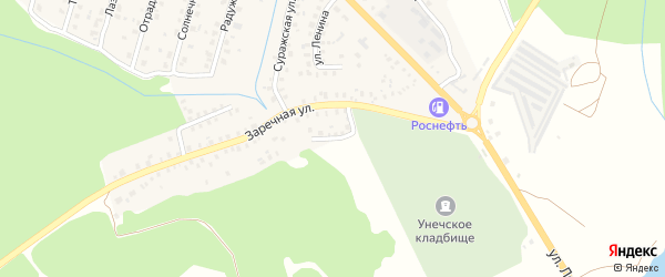 Заречный переулок на карте Унечи с номерами домов