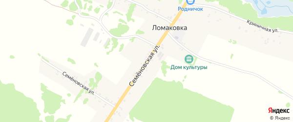 Семеновская улица на карте села Ломаковки с номерами домов