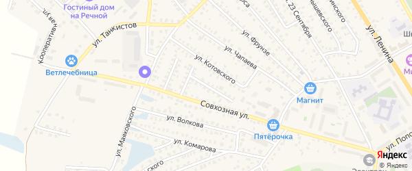 Переулок 1-й Луначарского на карте Унечи с номерами домов