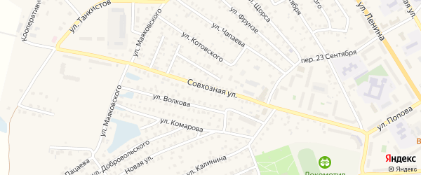 Совхозная улица на карте Унечи с номерами домов