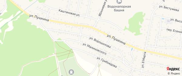 Улица Ворошилова на карте Унечи с номерами домов