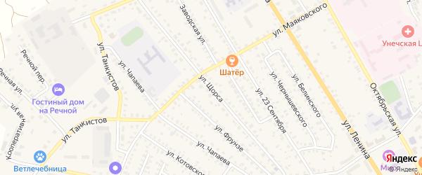 Улица Щорса на карте Унечи с номерами домов