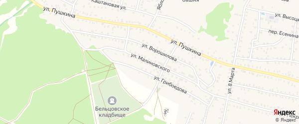 Улица Малиновского на карте Унечи с номерами домов