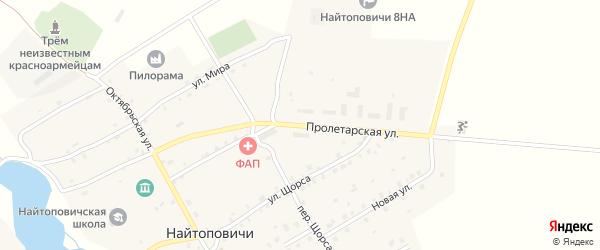 Пролетарская улица на карте села Найтоповичи с номерами домов