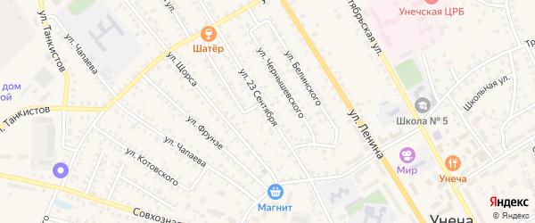 Улица 23 Сентября на карте Унечи с номерами домов