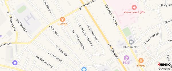 Улица Чернышевского на карте Унечи с номерами домов