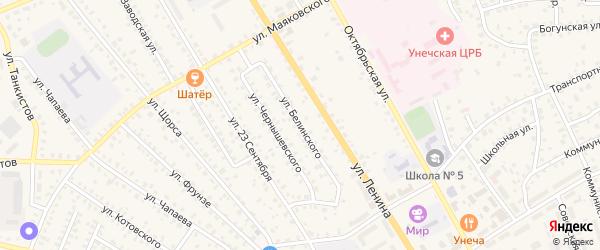 Улица Белинского на карте Унечи с номерами домов