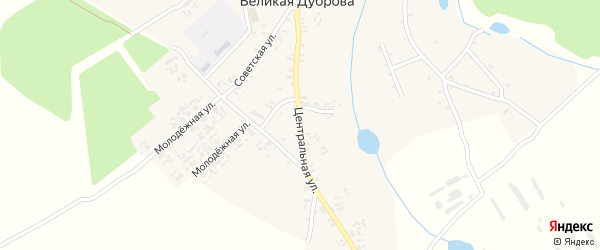Центральная улица на карте села Великая Дуброва с номерами домов