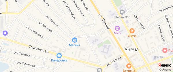 Переулок 23 Сентября на карте Унечи с номерами домов