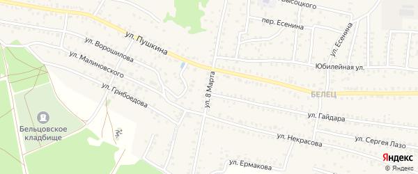 Улица 8 Марта на карте Унечи с номерами домов
