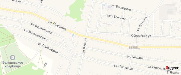 Переулок 1-й Пушкина на карте Унечи с номерами домов