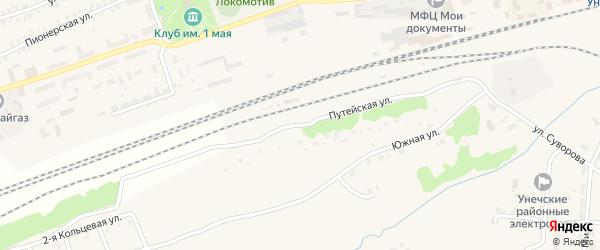 Путейская улица на карте Унечи с номерами домов