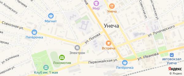 Улица Попова на карте Унечи с номерами домов