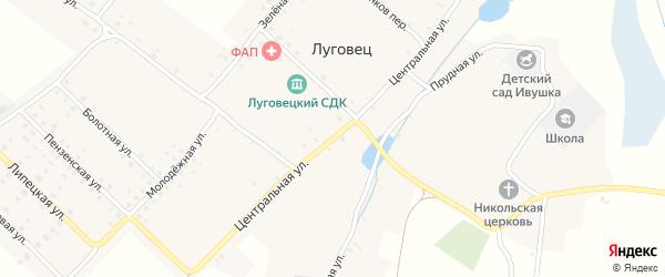 Центральная улица на карте села Луговца с номерами домов