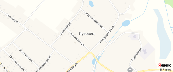Лесная улица на карте села Луговца с номерами домов