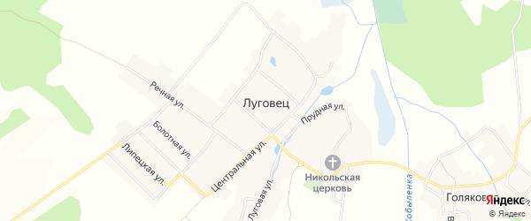 Карта села Луговца в Брянской области с улицами и номерами домов