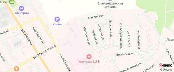 Цветочная улица на карте Унечи с номерами домов