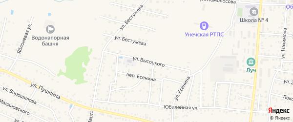 Улица Высоцкого на карте Унечи с номерами домов