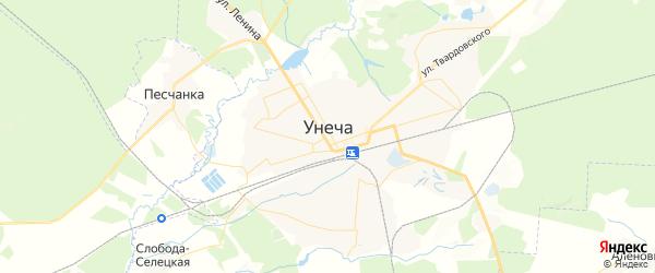 Карта Унечи с районами, улицами и номерами домов
