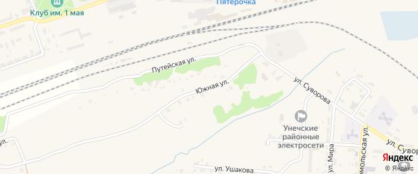 Южная улица на карте Унечи с номерами домов
