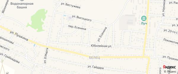 4-й Юбилейный переулок на карте Унечи с номерами домов