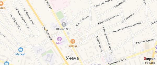 Школьная улица на карте Унечи с номерами домов