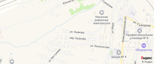 Улица Ушакова на карте Унечи с номерами домов