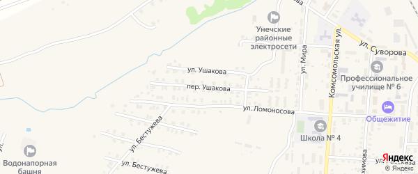 Переулок Ушакова на карте Унечи с номерами домов