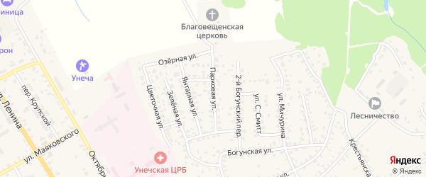Парковая улица на карте Унечи с номерами домов