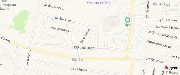 3-й Юбилейный переулок на карте Унечи с номерами домов