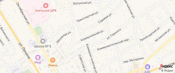 Коммунальная улица на карте Унечи с номерами домов