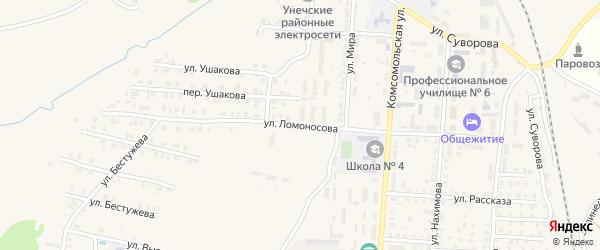 Улица Ломоносова на карте Унечи с номерами домов