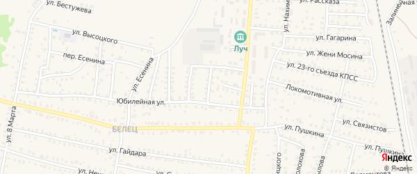 1-й Юбилейный переулок на карте Унечи с номерами домов